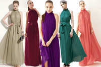 2014 New arrival Pink  Purple green grey black rose  7Color Maxi Chiffon Long Dresses Vestidos de fiesta Growns With Belt LQ4055