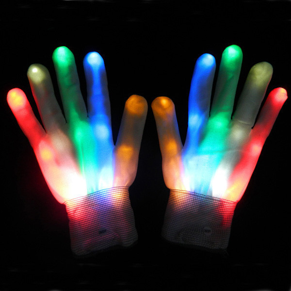 LED Flashing Gloves Colorful Flash Finger Light Glove for Christmas Halloween Party Decoration Novelty Toys 10Pair/Lot(China (Mainland))