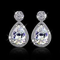 2014 Fashion Wedding Umode Style Earrings Luxury Swiss Cz Rhinestone Crystal Fashion Drop Silver Earrings (Silveren SE0624)