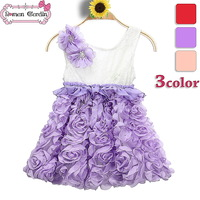 2014 girls summer dress kids flower dress children roses on-pieces clothes princess costume 3 color for 3-8 years