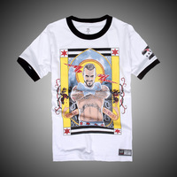Hot!Passion!Super Star CM&PUNK Super White short sleeve T-shirt,Free shipping ePacket