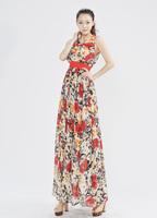 2014 Free Shipping 2014 Spring -Summer Casual Dress Print Dress Chiffon Dress Sale two-piece