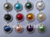 Free Shipping 18mm Pearl Rhinestone Button Flatback wholesale ,60pcs/lot