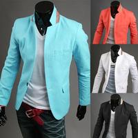 New arrival 2014 suit color block small collar buckle basic casual suit men jacket blazer