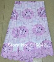 NEW Fashion African Swiss Voile Lace High Quality 100% Cotton Textile Fabric, Purple Lace Fabrics AMY1057B