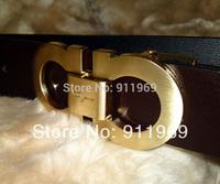 men&women fashion famous brands classical  genuine leather gold silver metal buckle belt/waist belt free shipping