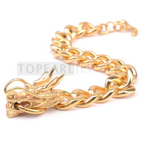 Topearl Jewelry Stunning 316 Stainless Steel Gold-tone Dragon Curb Chain Bracelet for Men MEB201
