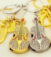 cute diamond crystal Guitar Gift 8gb 16gb 32gb jewelry guitar crystal USB flash drive memory Stick pen drive usb flash drive