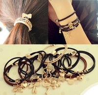 Derlook gold plated hair accessory beaded small pendant headband bracelet type hair rope hair accessory rubber band