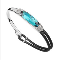 Hot Austrian Bangle Women's Bracelets With Stones Girl Bracelets Jewelry Buckle For Paracord Charm Murano Leather Clasp Bracelet
