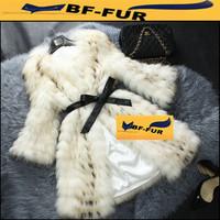 Hot selling! New 2014 Women Natural  Raccoon Fur Coats Long Striped Design with Belt Fox Fur Jackets Vests Plus Size3XL/4XL