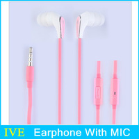 2014 New Fashion Good Quality In Ear Earphones Headphones With Mic For iphone/samsung/HTC/Xiaomi/Nokia Mobile Phone Pink Color