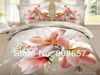 2014 new spring home textile cute pink floral printing comforter cotton queen full size duvet covers set 4pc 5pc girls bedding
