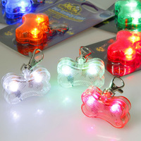 Pet Dog Bone Style LED Flashing Drop Pendant Night Walk Dogs Safety Caution Glowing Hang Tag Light via EMS 100pcs/lot
