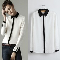 2014 Fashion black and white turn-down collar chiffon shirt handsome female long-sleeve shirt free shpping