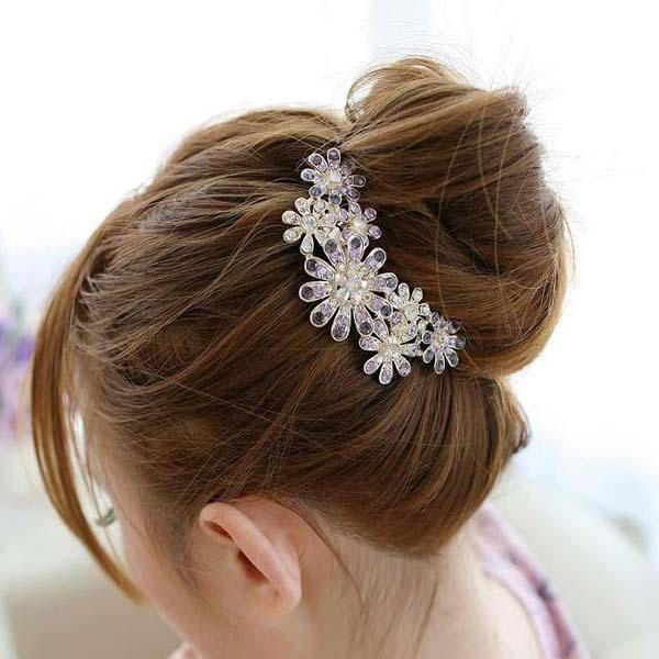 Hot sale Fashion elegant women Rhinestone flower hair stick Hair clip maker Metal pearl hair fork accessories For ladies hairpin(China (Mainland))