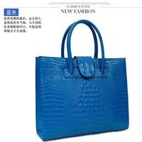 alligator pattern, genuine leather handbag leather bag women's shopping bag one shoulder handbag big bags