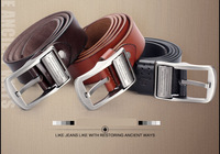 PP035 New 2014 genuine leather brand alloy Pin buckle first layer of cowskin Belt fashion luxury waist strap 5 sizes 3colors