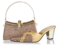 High quality coffee women pumps, closed toe style italian design wedding shoes and matching bags,SB8785