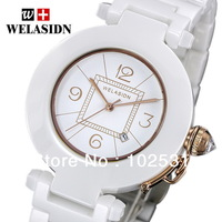 Fast Shipping Luxury WELASIDN White Ceramic & Gold Number Classics Dress Lady Calendar Women Clock Gift Quartz Hand Watch
