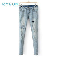 2014 New Spring Women's Casual Blue Jean Fashion Wild Complement Denim Trousers M/L/XL Free Shipping