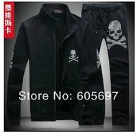 free shipping 2014 Skull suit  Brand Men tracksuit Leisure Sport Suit Casual  Men's Sportswear  703