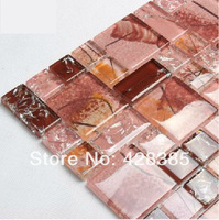 Crystal  Crackled Glass Mosaic Tiles, Hand Painted Parquet Rural Europe, living room background, bathroom tiles