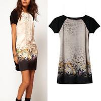 2014 Women Clothing Fashion Leopard Print Dresses vestidos de fiesta Casual Summer Dress Party Peplum Plus Size Free Shipping