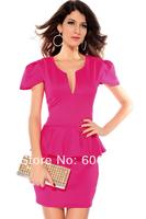 2014 New Arrival Elegant Women's Evening Dress,Sexy V-Neck Ruched Hem Short Sleeve Ladies' Sheath Mini Party Dress,5 Colors
