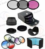 58mm Lens Hood + UV CPL FLD Filter Kit + Cap +  Graduated  ND Grey Blue Set for  Canon EOS 1100D 1000D 650D 600D 18-55mm Lens