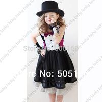 Retail new 2014 Jazz style gentleman black dress with rose tie bow kids girls dress girl party casual baby dress tcq 009 03