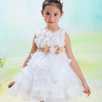 Romantic Daisy!2014 new hot Girls Flower formal princess wedding dress female Children's /baby girl new year party ball dress