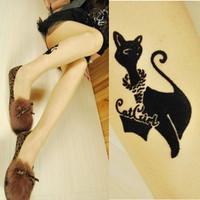 nz066-1 Free shopping tights cat 1pcs cat tattoo tights/stars tattoo choker/ fake tattoo/ black tights tattoo choker