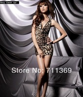Women's Fashion leopard tight backless jumpsuits Club Wear  Free Shipping