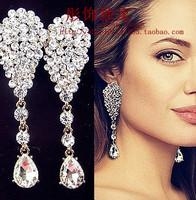 Fashion accessories sexy beautiful long crystal luxury bride stud earring earrings no pierced