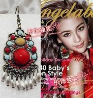 Fashion personality vintage tassel earrings red bohemia no pierced