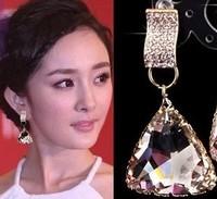 Fashion accessories luxury sparkling crystal triangle big drop stud earring earrings bride