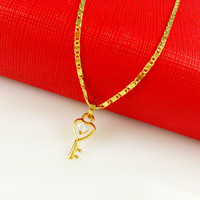 vacuum plated 24K gold Women's necklace with key crystal pendant Wholesale New arrival fashion Jewelry Free Shipping! LA086