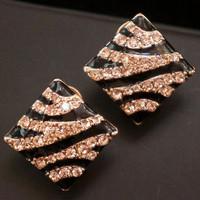 Fashion accessories stud earring diamond leopard print button stud earring female earrings