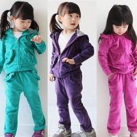 2014 spring autumn children Clothing Sets female child sport set girls' hoodies with pants sports set