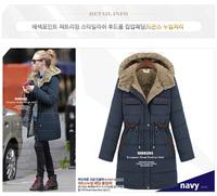 Womens fur Collar lining hoody long jacket coat trench windbreaker parka padded