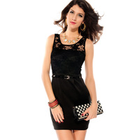2014 new arrival fashion women's dress sleeveless o-neck belt slim sexy fashion vest one-piece dress 2770