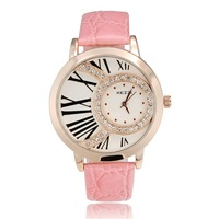 A-53 NEW  ladies women dress rhinestone watch fashion quartz watch waterproof leather strap japan MOVT