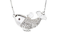 Fashion design 925 Sterling silver CZ Jewelry Fish Pendant 13*22mm with Box Chain Necklace for women free shipping