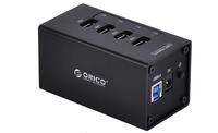 ORICO A3H4 Mini Aluminum 4 Ports USB 3.0 Hub With 12V/2.5A Power Supply For Laptop Black & White