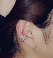 Korean fashion sweet three rows flash drilling single no pierced crystal Ear cuff Earrings Free shipping