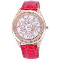 Newest style women watches leather strap quartz alloy round luxury rhinestone rose gold plated for ladies watch