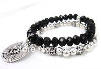 Free Shipping Stone and Glass Bead Women bracelet for Cross Charm Bracelet