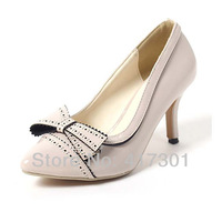 2014 New Women's Sweet Bowknot Pointed Toe Pumps Stiletto High Heels Women Fashion Party Shoes