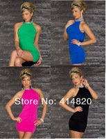 Hot sale New Fashion Women Sexy Sequined High Collar Bodycon Dress Mini Club Party Bandage Dress